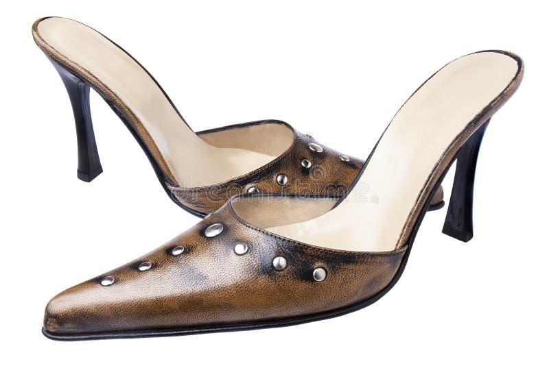 Καφετί παπούτσι παπουτσιών γυναικών που απομονώνεται στοκ εικόνα με δικαίωμα ελεύθερης χρήσης