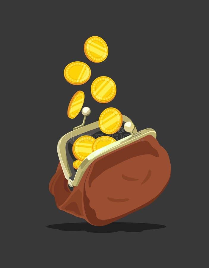 Καφετί πορτοφόλι με τα νομίσματα επίσης corel σύρετε το διάνυσμα απεικόνισης απεικόνιση αποθεμάτων