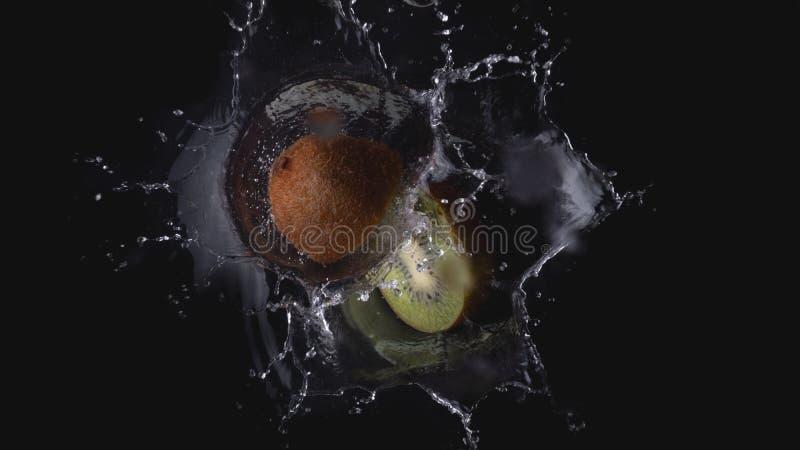 Καφετί πράσινο ακτινίδιο που εμπίπτει στον παφλασμό νερού στοκ φωτογραφίες