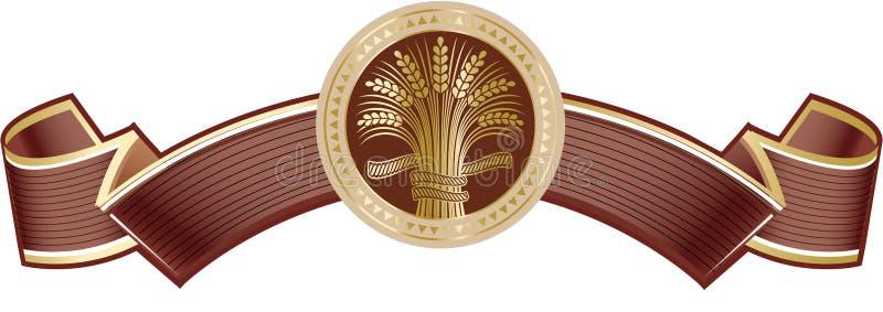 Καφετί πλούσιο κομψό έμβλημα με χρυσό ώριμο sheaf σίτου ελεύθερη απεικόνιση δικαιώματος