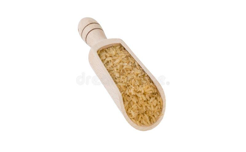 Καφετί ρύζι στην ξύλινη σέσουλα που απομονώνεται στο άσπρο υπόβαθρο διατροφή βιο φυσικό συστατικό τροφίμων στοκ φωτογραφίες