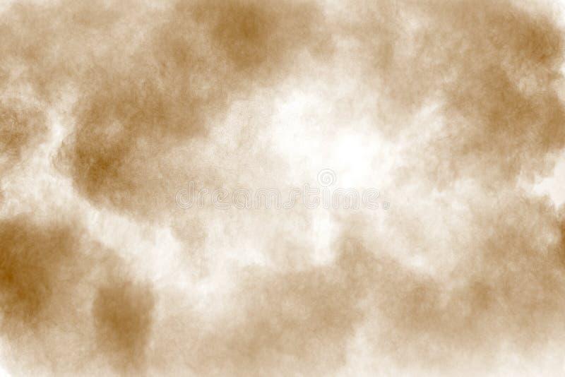 Καφετί σύννεφο σκόνης Τα καφετιά μόρια στο άσπρο υπόβαθρο στοκ φωτογραφία