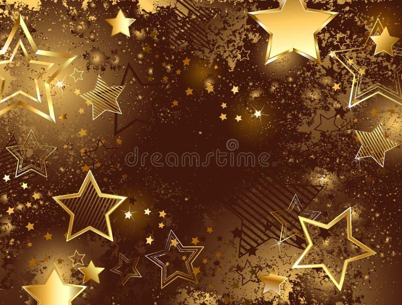 Καφετί υπόβαθρο με τα χρυσά αστέρια διανυσματική απεικόνιση