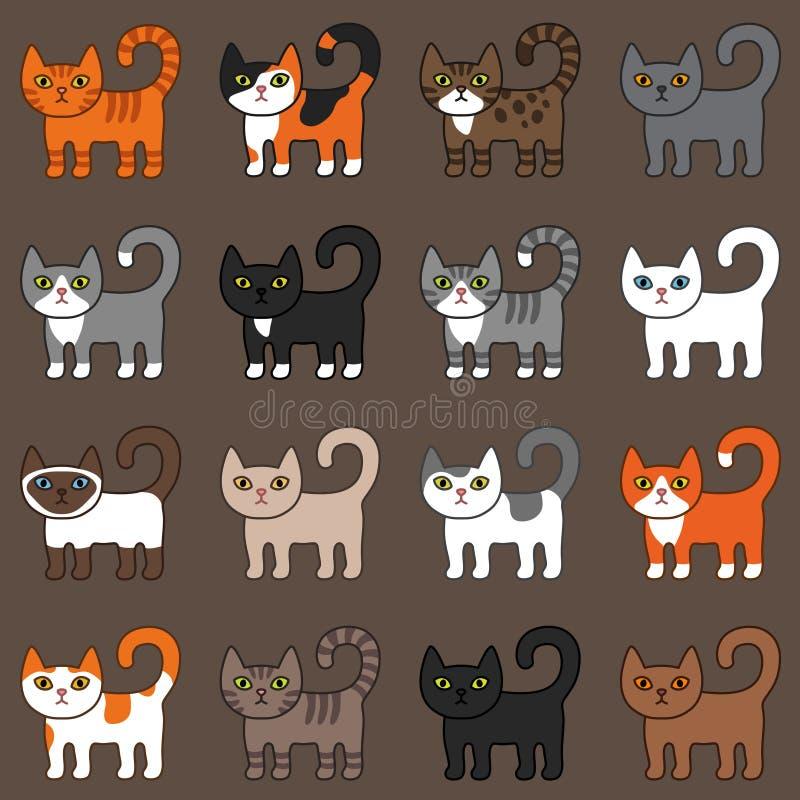 Καφετί υπόβαθρο σχεδίων διάφορων γατών άνευ ραφής Χαριτωμένες και αστείες κινούμενων σχεδίων γατακιών γατών διανυσματικές φυλές γ διανυσματική απεικόνιση