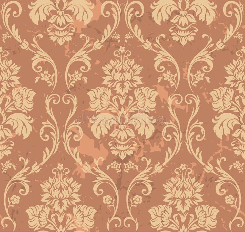 καφετί floral πρότυπο διανυσματική απεικόνιση