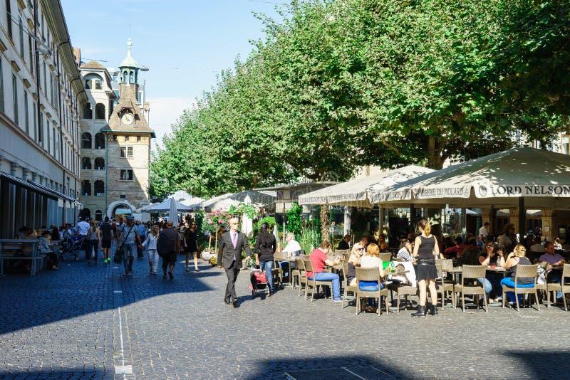 Καφετερία στη Γενεύη, Ελβετία στοκ εικόνα με δικαίωμα ελεύθερης χρήσης