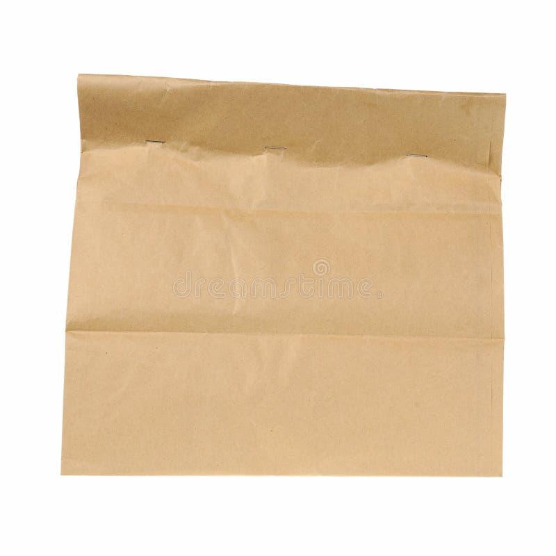 Καφετιά ανακύκλωσης τσάντα εγγράφου μεσημεριανού γεύματος που απομονώνεται στο άσπρο υπόβαθρο στοκ εικόνες
