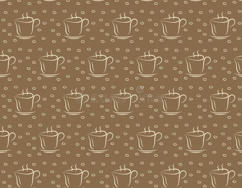 καφετιά απεικόνιση φλυτζανιών καφέ ανασκόπησης Άνευ ραφής πρότυπο για το σχέδιο ελεύθερη απεικόνιση δικαιώματος