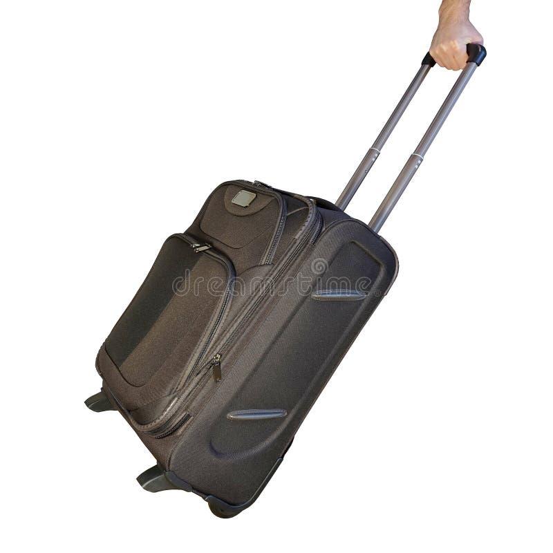 Καφετιά βαλίτσα με τη μακριά λαβή στοκ φωτογραφίες με δικαίωμα ελεύθερης χρήσης