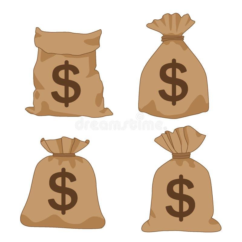 Καφετιά δολάρια τσαντών χρημάτων στο άσπρο διάνυσμα απεικόνισης υποβάθρου ελεύθερη απεικόνιση δικαιώματος