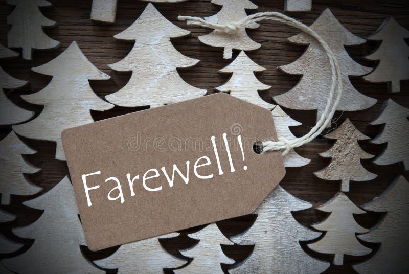 Καφετιά ετικέτα Χριστουγέννων με το αντίο στοκ εικόνα