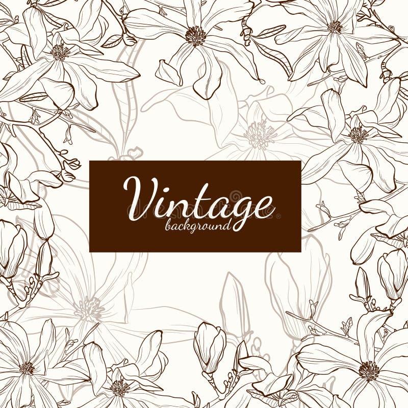 Καφετιά ευχετήρια κάρτα περιλήψεων σεπιών λουλουδιών Magnolia στο μπεζ υπόβαθρο απεικόνιση αποθεμάτων