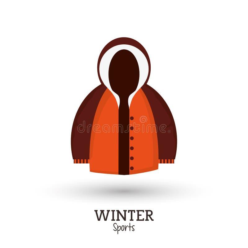 Καφετιά και πορτοκαλιά ενδύματα σακακιών χειμερινού αθλητισμού διανυσματική απεικόνιση