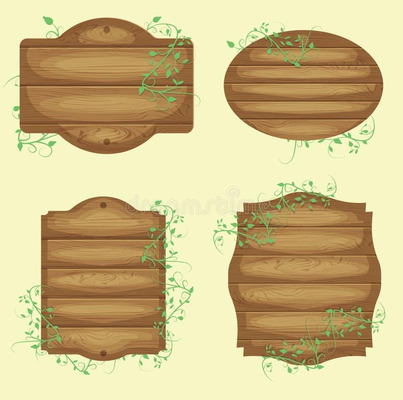 Καφετιά ξύλινα πιάτα κινούμενων σχεδίων διανυσματική απεικόνιση
