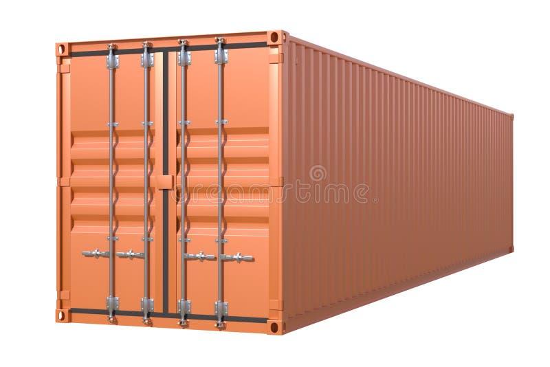 Καφετιά πλάγια όψη εμπορευματοκιβωτίων φορτίου σκαφών 40 πόδια μήκους διανυσματική απεικόνιση