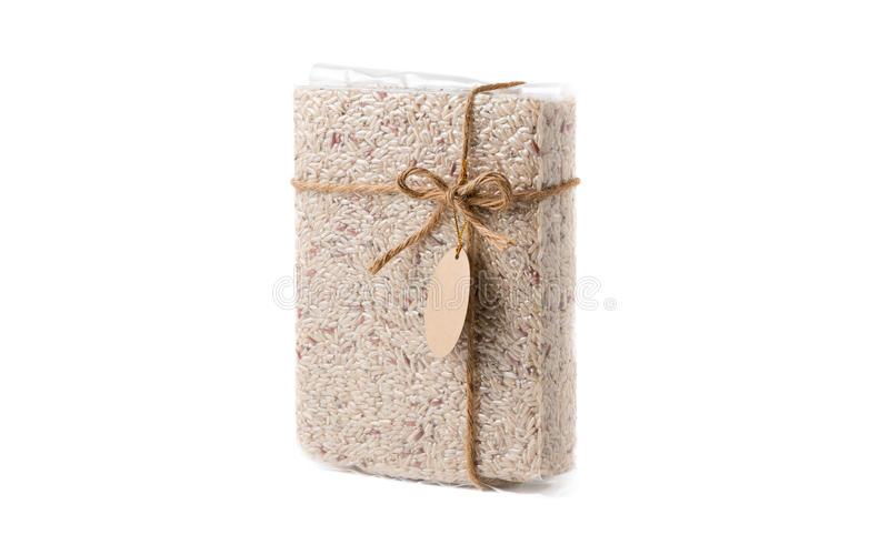 Καφετιά πλαστική τσάντα ρυζιού της Jasmine που απομονώνεται στοκ φωτογραφία με δικαίωμα ελεύθερης χρήσης