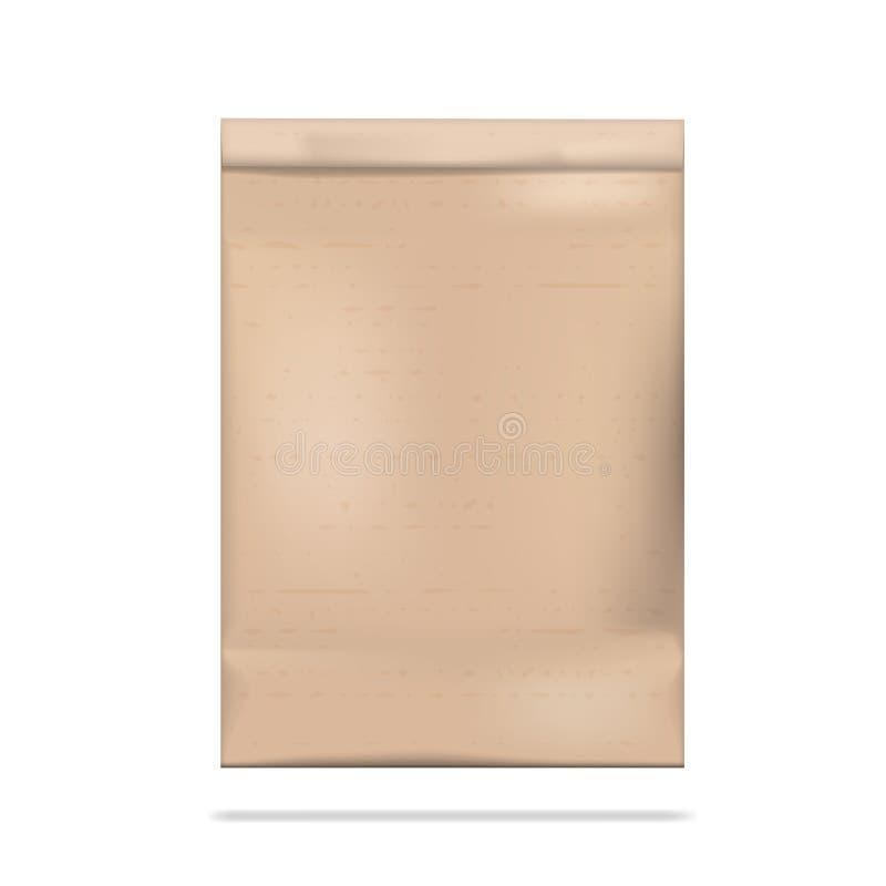 Καφετιά σαφής κενή κενή συσκευασία τσαντών εγγράφου τεχνών απεικόνιση αποθεμάτων