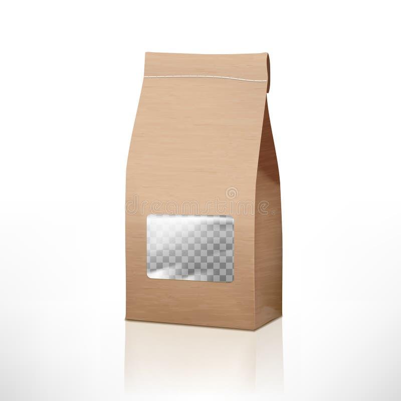 Καφετιά συσκευασία τσαντών εγγράφου τεχνών με το διαφανές παράθυρο διανυσματική απεικόνιση