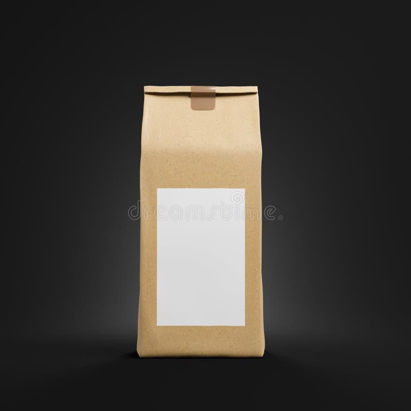 Καφετιά συσκευασία τσαντών τσαγιού ή καφέ με τη χλεύη επάνω ελεύθερη απεικόνιση δικαιώματος