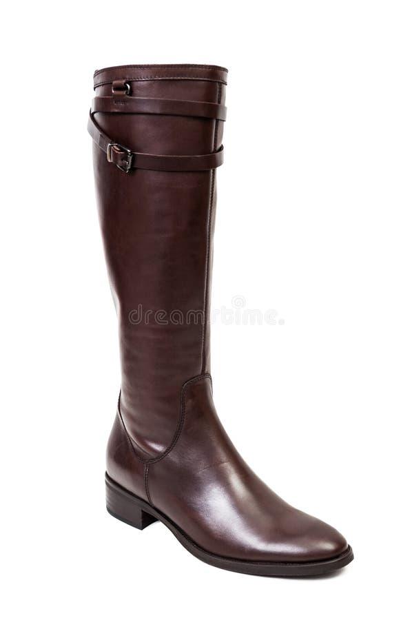 Καφετιές μπότες δέρματος για τις γυναίκες που απομονώνονται στο λευκό στοκ φωτογραφία με δικαίωμα ελεύθερης χρήσης