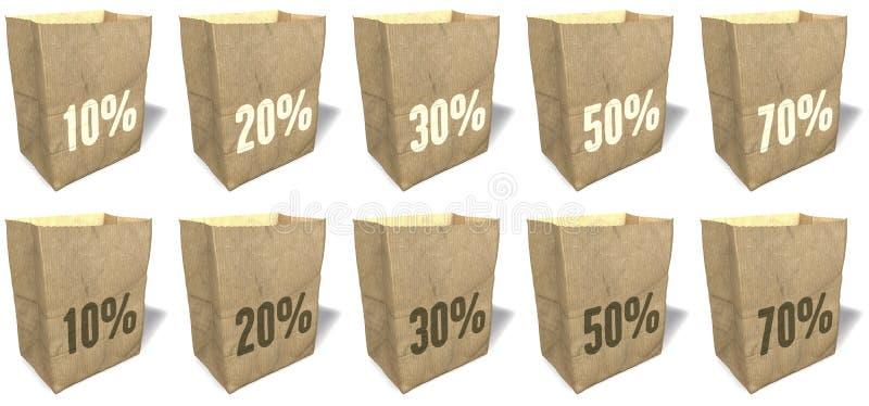 Καφετιές τσάντες αγορών, totes, tote τσάντες, φυσικό, οικολογικό υλικό εγγράφου, συνθήματα πωλήσεων, τυπωμένη ύλη, σύνολο 7 ελεύθερη απεικόνιση δικαιώματος