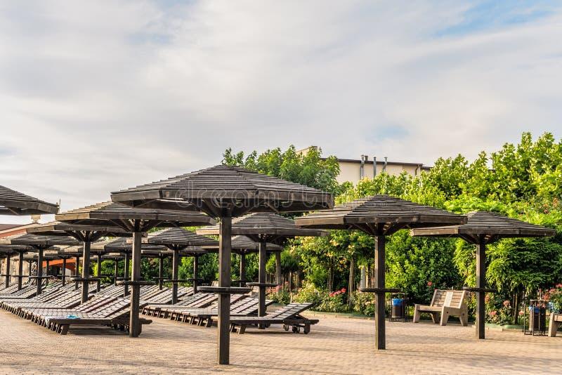 Καφετιοί ξύλινοι αργόσχολοι και ομπρέλες Σειρές που στηρίζονται τις θέσεις στοκ φωτογραφία με δικαίωμα ελεύθερης χρήσης
