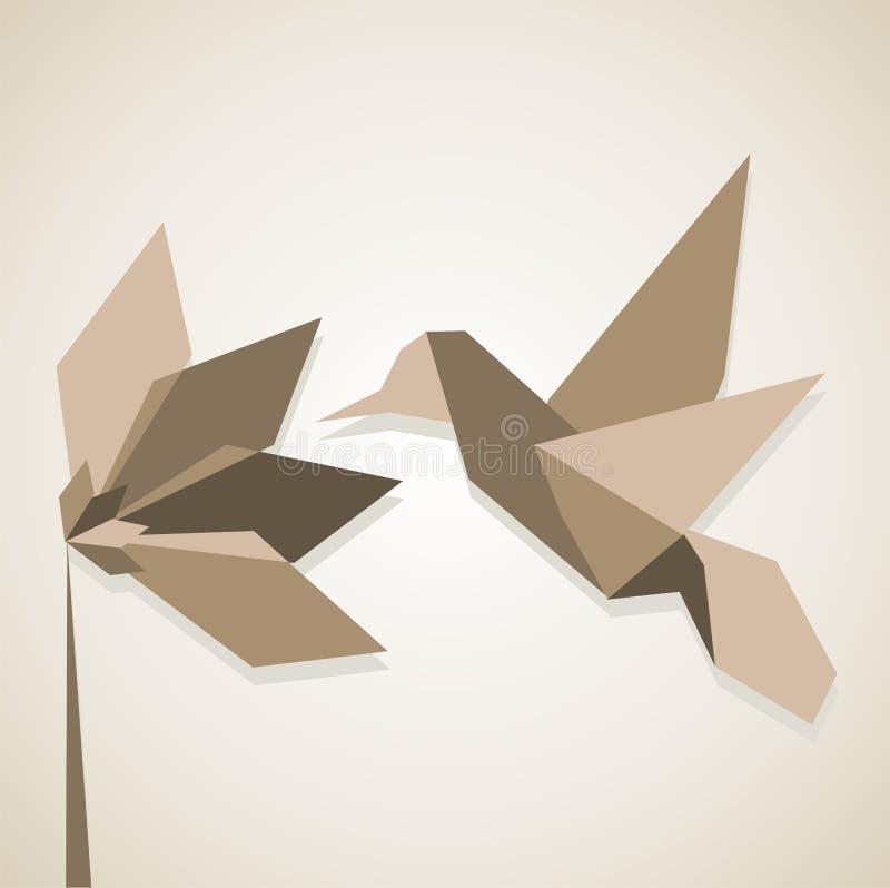 καφετιοί τόνοι origami κολιβρί&ome διανυσματική απεικόνιση