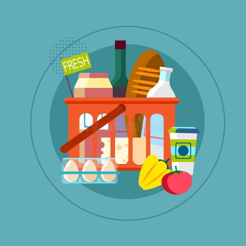 Καλάθι αγορών με τα φρέσκα καθημερινά αγαθά τροφίμων διανυσματική απεικόνιση