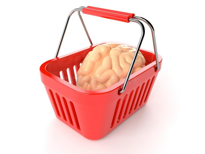 Καλάθι αγορών με τον εγκέφαλο διανυσματική απεικόνιση