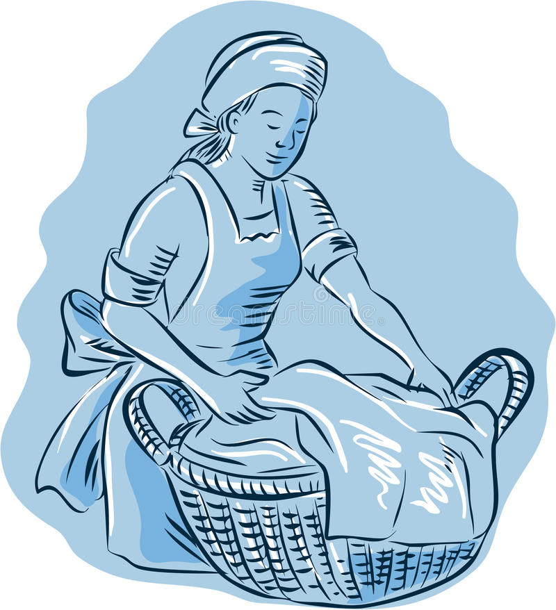 Καλάθι εκλεκτής ποιότητας χαρακτική κοριτσιών πλυντηρίων απεικόνιση αποθεμάτων