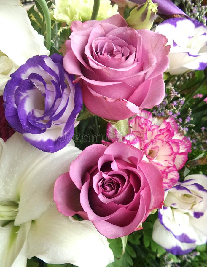 Καλάθι λουλουδιών χρώματος κρητιδογραφιών στοκ φωτογραφίες με δικαίωμα ελεύθερης χρήσης