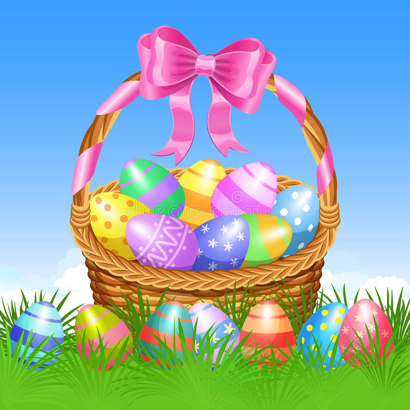 Καλάθι Πάσχας και ζωηρόχρωμα αυγά Πάσχας στην πράσινη χλόη για Πάσχα απεικόνιση αποθεμάτων