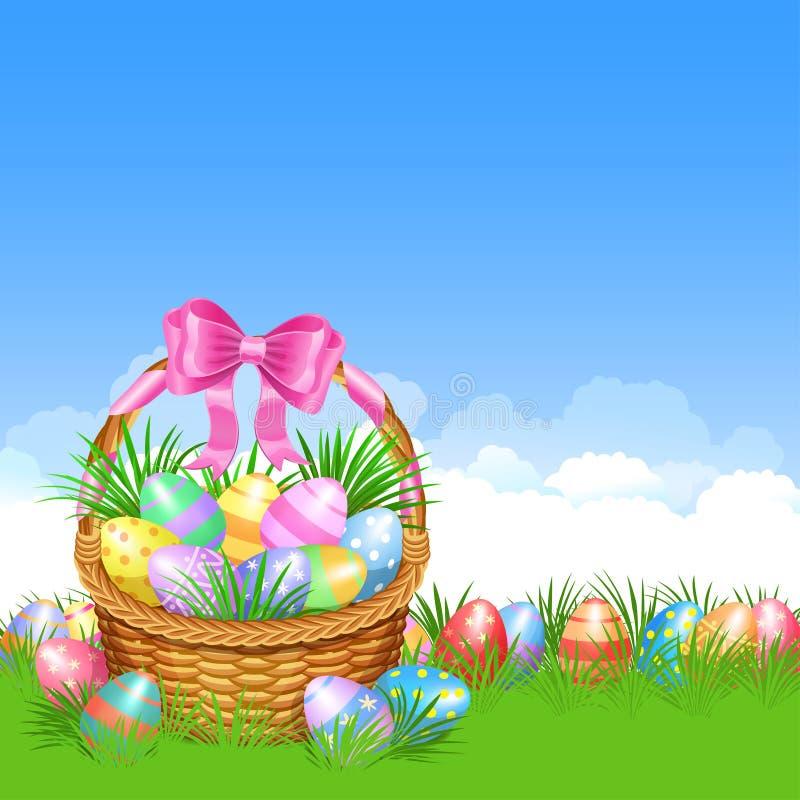 Καλάθι Πάσχας και ζωηρόχρωμα αυγά Πάσχας στην πράσινη χλόη ελεύθερη απεικόνιση δικαιώματος