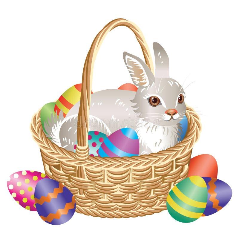 Καλάθι Πάσχας με το λαγουδάκι και τα αυγά απεικόνιση αποθεμάτων