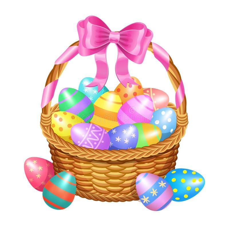 Καλάθι Πάσχας με χρωματισμένα τα χρώμα αυγά Πάσχας που απομονώνονται στο λευκό απεικόνιση αποθεμάτων