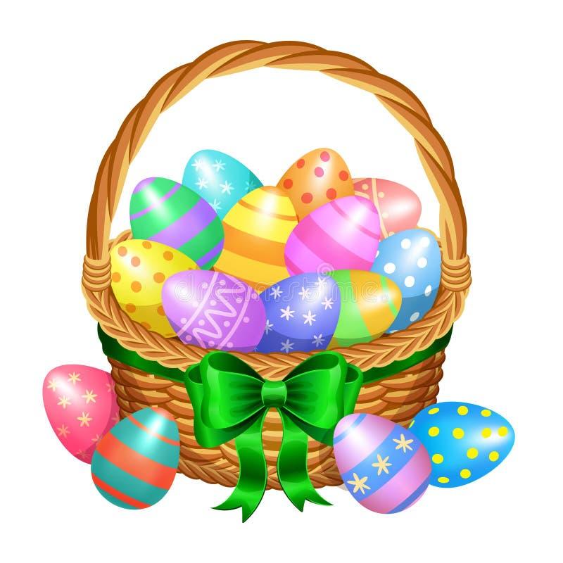 Καλάθι Πάσχας με χρωματισμένα τα χρώμα αυγά Πάσχας που απομονώνονται στο λευκό διανυσματική απεικόνιση