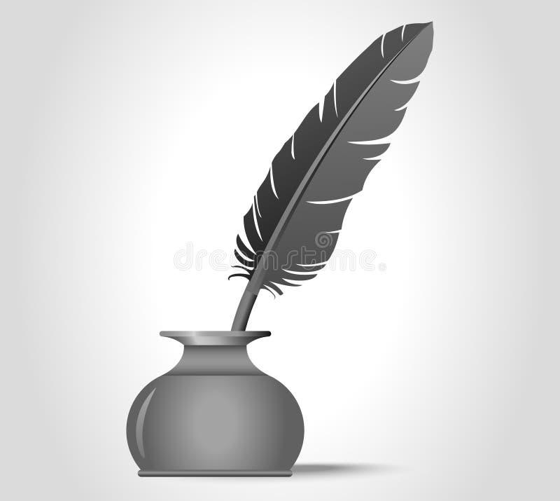 Καλάμι φτερών στο μελάνι καλά διανυσματική απεικόνιση