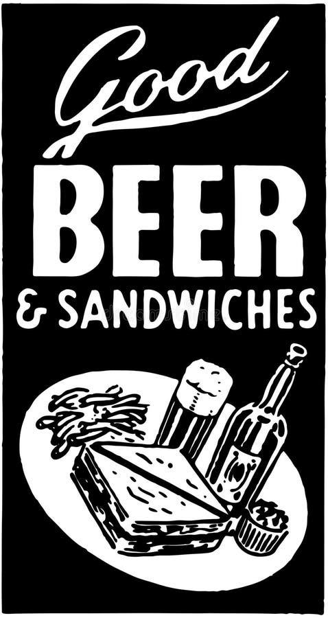 Καλά μπύρα και σάντουιτς ελεύθερη απεικόνιση δικαιώματος