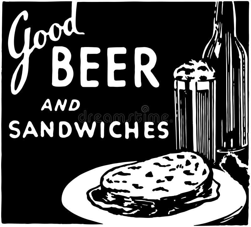 Καλά μπύρα και σάντουιτς 2 διανυσματική απεικόνιση