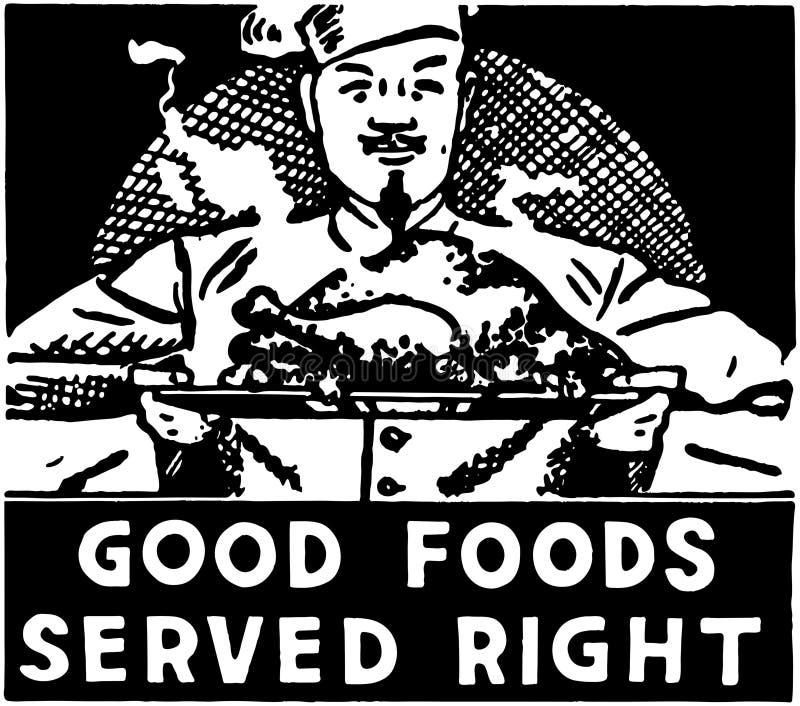 Καλά τρόφιμα που εξυπηρετούνται δεξιά διανυσματική απεικόνιση