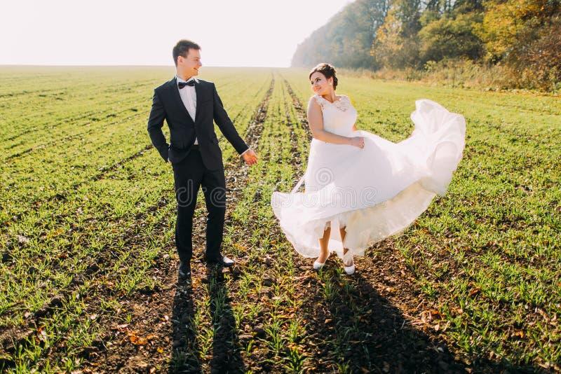 Καλή άποψη των newlyweds στον πράσινο τομέα Η νύφη παίζει με το γαμήλιο φόρεμά της στοκ φωτογραφία