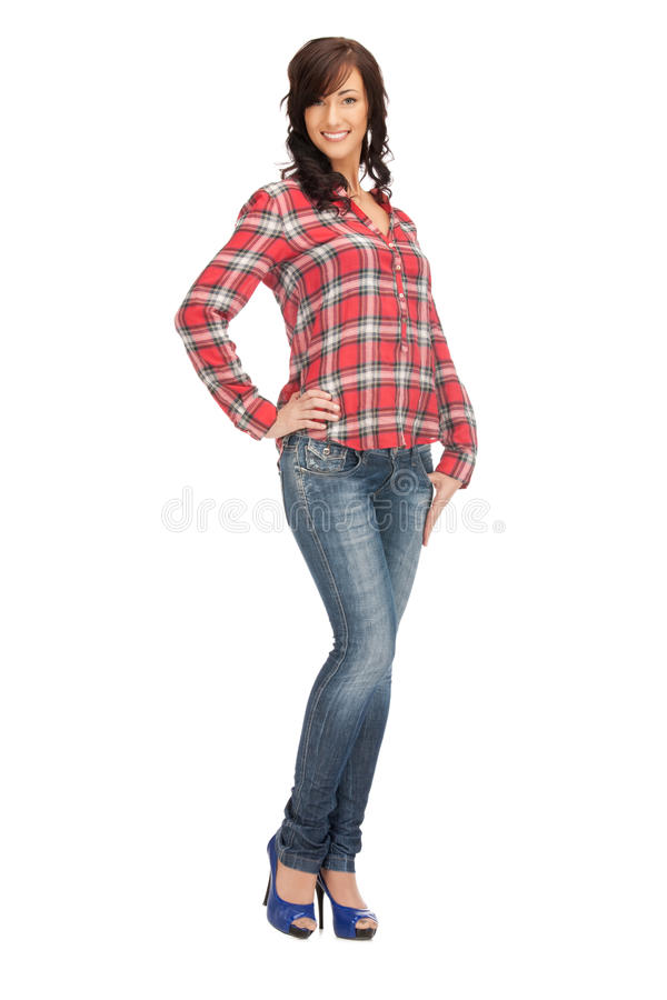 Καλή γυναίκα στο πουκάμισο και το παντελόνι στοκ φωτογραφία με δικαίωμα ελεύθερης χρήσης