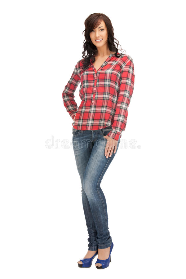 Καλή γυναίκα στο πουκάμισο και το παντελόνι στοκ φωτογραφίες με δικαίωμα ελεύθερης χρήσης