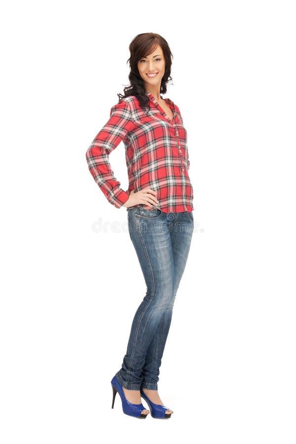 Καλή γυναίκα στο πουκάμισο και το παντελόνι στοκ φωτογραφίες