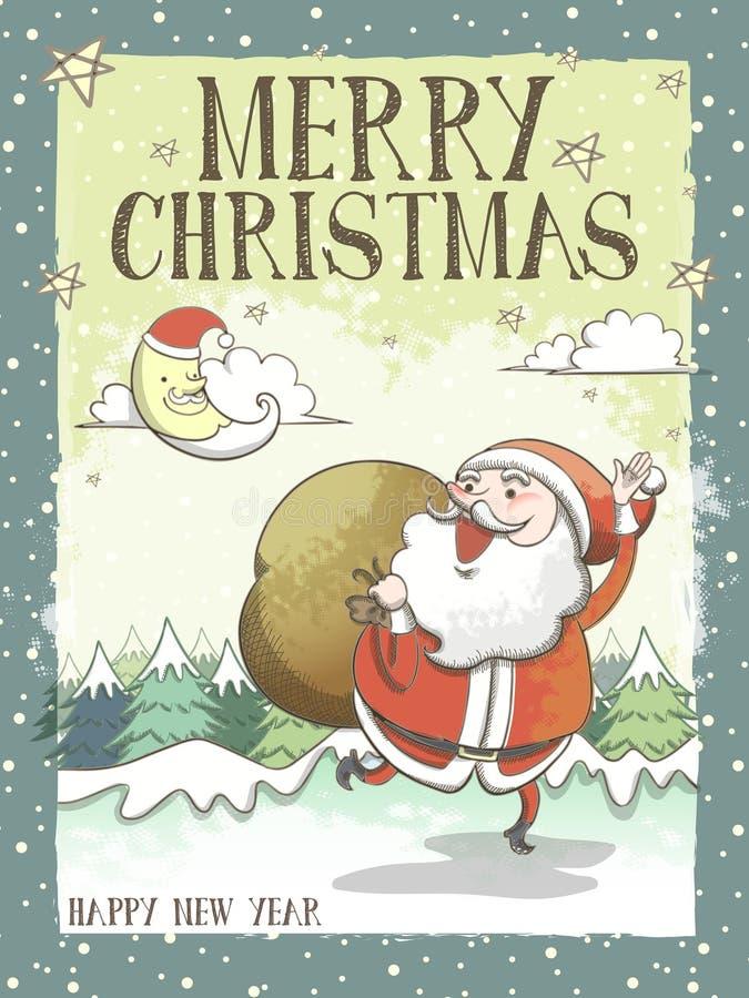 Καλή ευχετήρια κάρτα ή αφίσα Χαρούμενα Χριστούγεννας με Santa απεικόνιση αποθεμάτων