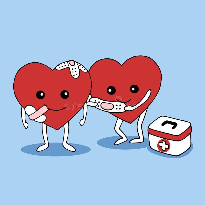 Καλή καρδιά που βοηθά τη διανυσματική συρμένη χέρι απεικόνιση καρδιών πόνου διανυσματική απεικόνιση