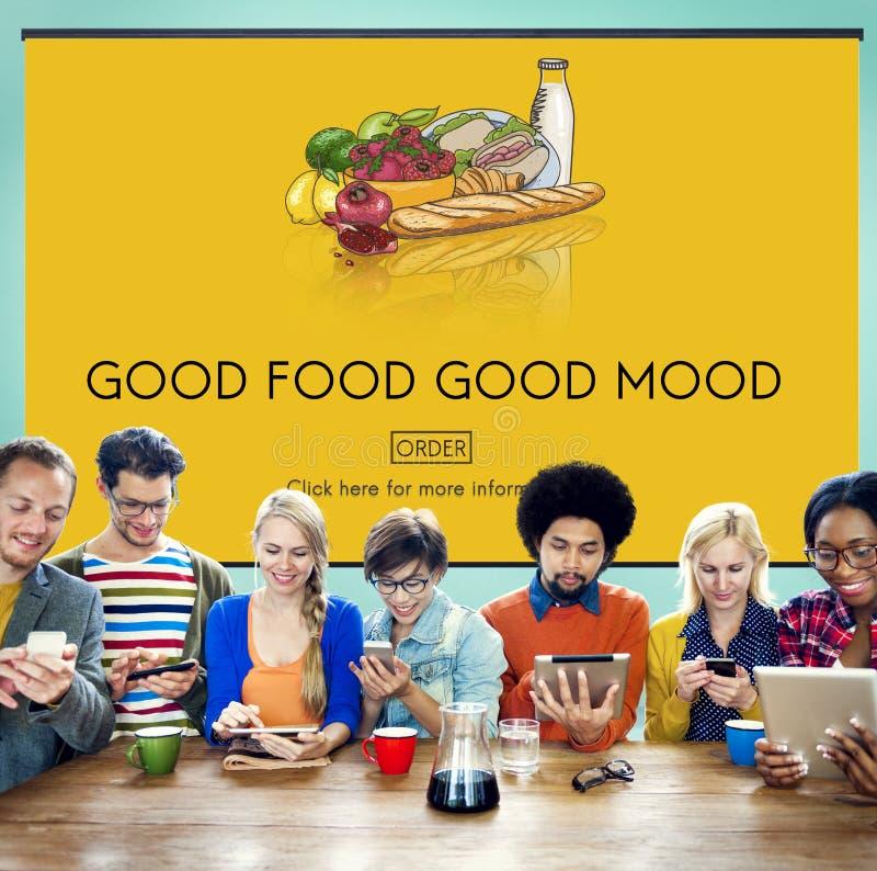 Καλή καλή διάθεση τροφίμων που τρώει την οργανική έννοια διατροφής στοκ φωτογραφία με δικαίωμα ελεύθερης χρήσης