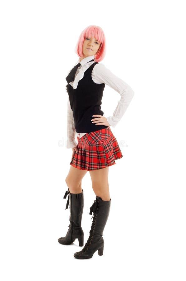 Καλή μαθήτρια με τη ρόδινη τρίχα στοκ εικόνα