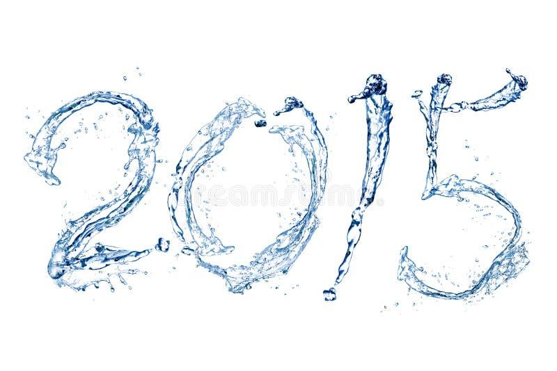 Καλή χρονιά 2015 από την πτώση νερού στοκ εικόνα