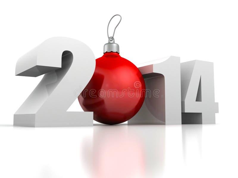 Καλή χρονιά 2014 αριθμοί και κόκκινη σφαίρα δέντρων cristmas διανυσματική απεικόνιση